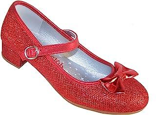 女童红色闪亮礼服场合派对高跟多洛蒂鞋合成玛丽珍鞋