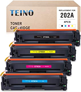 TEINO 兼容硒鼓替换件适用于 HP 202A CF500A CF501A CF502A CF503A 适用于 Color Laserjet Pro MFP M281fdw M281cdw M254dw M280nw(黑色,青色,洋红色,黄色...