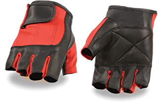 Milwaukee Leather SH221-BLACK-L 中性成人无指手套(黑色/红色,大号)