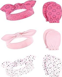 Hudson Baby 女童中性款棉质头带和防刮手套套装