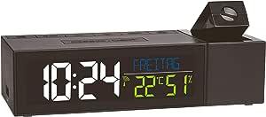 TFA Dostmann Show 60.5014.01 无线电投影时钟 带室内气候 塑料 黑色 (长) 167 × 宽 66 × 高 48 毫米