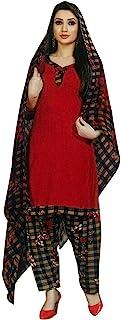 ladyline 女式即穿Salwar Kameez 人造绉纱印花印度缝制纱丽西装 Red (34) 44