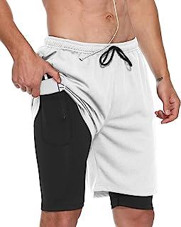LABEYZON 男式 2 合 1 跑步短裤速干健身运动短裤带手机袋