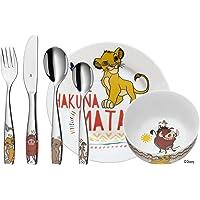 WMF 福腾宝 狮子王儿童餐具6件套,Cromargan抛光不锈钢,适用于3岁以上儿童,可使用洗碗机清洁,颜色稳固/不与…