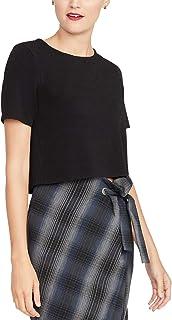 Rachel Roy 圆领短款毛衣,黑色,小号
