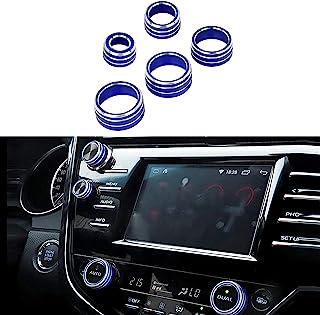 NOWIGOT 中控台旋钮铝合*饰 AC/空调按钮,音频,后视镜旋钮,功能开关盖适用于丰田凯美瑞 2018 2019 2020,5 件蓝色