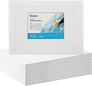 Gazeer 超值 16 件帆布板艺术家绘画帆布板 - 226.8 x 30.5 厘米 - 226.8 克油画板和丙烯酸绘画画布板