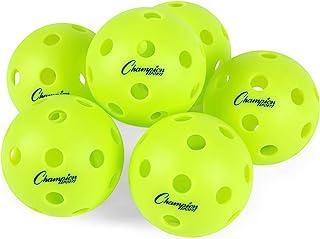 Champion Sports 匹克球:官方尺寸休闲和锦标赛匹克球 - 黄色匹克球套装适用于户外和室内球场 - 6 件装