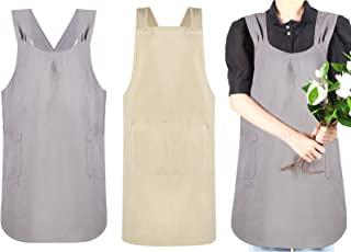 2 件交叉背亚麻厨房围裙 挂脖交叉围裙 日式韩式风格 Pinafore 十字架 厨房烹饪围裙 带口袋 适合女士女孩 烹饪园艺烘焙