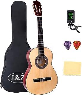 经典吉他 3/4 尺寸 91.44 厘米儿童吉他原声吉他 6 根尼龙弦吉他入门套件带防水袋吉他夹调谐器带拨片擦拭(36 英寸自然)