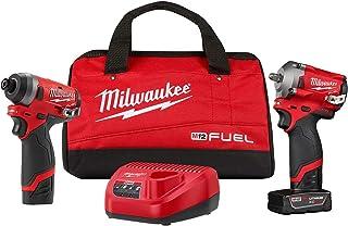 Milwaukee (MLW259922) M12 FUEL 3 / 8英寸(约7.62/20.32厘米)和1 / 4英寸(约2.54/10.16厘米)六角粗短自动工具套件,2件套
