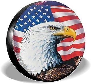 BDANTUMBLER 美国国旗秃鹰备用轮胎套 PVC 皮革 通用防尘*轮套 适用于吉普拖车 Rv SUV 卡车和许多车辆旅行拖车配件