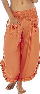 Back From Bali 女式九分阔腿裤舒适纯色弹性腰带 鲑鱼色 Medium-Large
