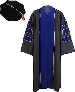 GraduationService 中性款豪华*毕业礼服带金色镶边和 8 面天鹅绒塔包装
