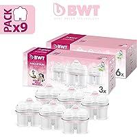 BWT 9件装滤水壶,含镁长寿命 mg2+,白色