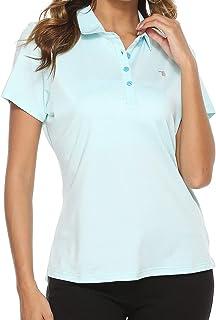女式高尔夫 Polo 衫短袖修身运动运动衫女士高尔夫上衣