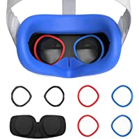 AMVR VR 硅胶面罩和镜片防刮环保护近视眼镜免受刮伤 VR 镜片,适用于 Oculus Quest 2,防汗防水防污…