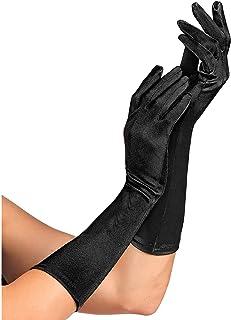 Widmann 14421 - 黑色缎面手套,含氨纶成分,1 双,长度 40 厘米,配饰,20 年代,主题派对,嘉年华