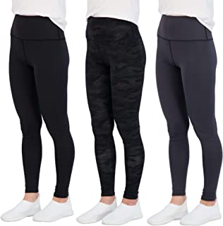 Real Essentials 3 件装:女式高腰打底裤全长瑜伽裤