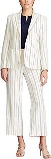 Chaps 女式条纹柔软亚麻混纺精致外套
