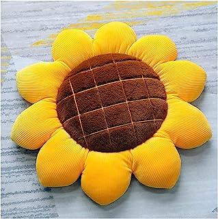15.75 英寸(约 40.0 厘米) 3D 花朵地板枕头坐垫和向日葵形状装饰抱枕靠垫和毛绒填充玩具,家居装饰,适合阅读(黄色,15.7 英寸(约 40 厘米)