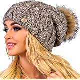 Braxton 女士针织帽 - 羊毛毛球帽 - 冬季美利奴羊毛滑雪帽