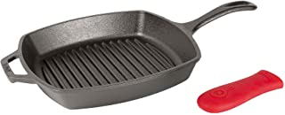 Lodge 洛极L8SGP3ASHH41B铸铁方形烤盘 带红色硅胶把手 预养护处理10.5英寸(26.67cm)