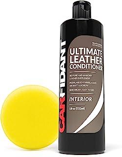Carfidant 终极皮革护发素和修复剂 - 全皮革修复和调理套装,带涂抹垫,适用于皮革汽车内饰、汽车仪表盘、沙发和钱包!- 45.72 克套装