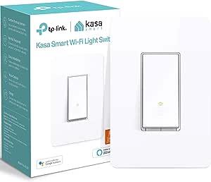 Kasa Smart TP-Link 智能照明开关,tp连接,单极,需要中性线,2.4Ghz WiFi,可与Alexa和Google助手配合使用,UL认证,1包(HS200),白色