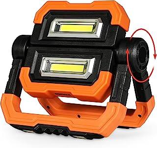 便携式 LED 工作灯,可充电 2 个 COB 2000LM 泛光灯,防水 360° 旋转泛光支架工作灯带磁性适用于户外野营应急汽车维修和工作现场照明