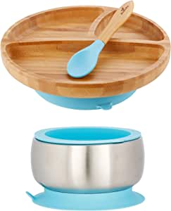 Avanchy Baby 幼儿喂食板竹子 – 吸盘分隔盘和婴儿勺 Blue Sustainable Bundle