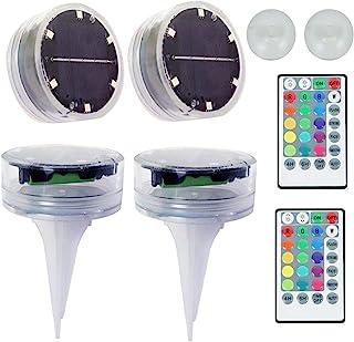2 个水下 LED 灯池塘喷泉灯 4 种模式自动循环太阳能供电可调光水下池塘灯带遥控器