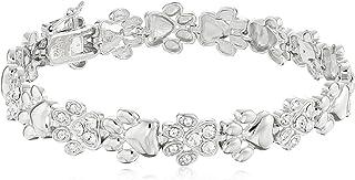 纯银爪印线手链采用施华洛世奇水晶制成(10 毫米,7.25 英寸)