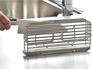 Bawasu风格 [日本制] 菜刀支架 带吸水垫(保湿)*杯垫 [KAWAKI] 宽25.5×深10×高13.1厘米 银色 DK-410130S