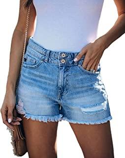 MIFOCAL 女式休闲牛仔短裤磨边下摆破洞夏季牛仔短裤