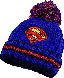 XINYID 儿童冬季保暖针织帽,Marvel *英雄保暖帽,棉质衬里人造毛皮球绒球帽,中性无檐小便帽 - 蓝色