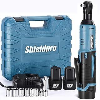 Shieldpro 无绳电动棘轮扳手套装,40 英尺(约 10.3 米)功率棘轮扳手 1 小时快速充电,2 包 2000 毫安锂电池,1/4 适配器,延长杆