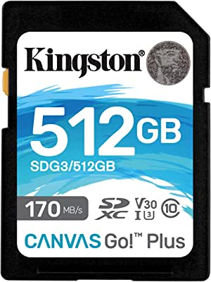 ingston 128GB microSDXC Canvas React Plus 285MB/s 读取SDG3/512GB SD 卡 512GB