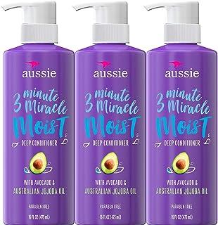 Aussie 深层护发素,含牛油果,不含对羟基苯甲酸酯,3分钟奇迹滋润,适合干性发质,16盎司(475ml),三件装