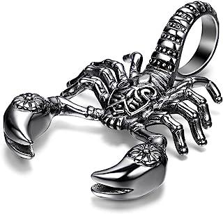 Flongo 男士哥特式不锈钢朋克蝎子骑行者吊坠项链,55.88 厘米项链