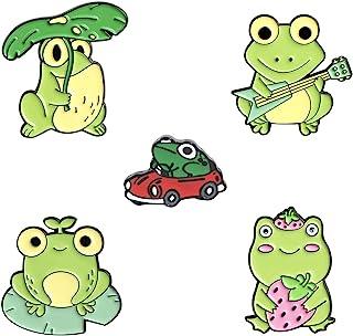 EMIR ROFFER 可爱青蛙珐琅别针背包夹克手工胸针搪瓷别针套装 适合儿童和女士 5 件装