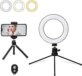6 英寸(约 15.2 厘米)自拍灯带三脚架手机支架,带手机三脚架和遥控器,迷你桌面 LED 环形灯适用于 YouTube 视频录制实时流,可调 3 种颜色 10 种亮度