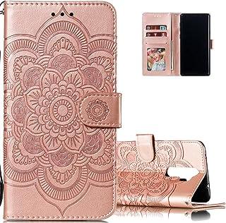 LEECOCO 小米 Redmi Note 8 Pro 超薄全身保护翻盖手机壳 LD: Mandala Rose Gold
