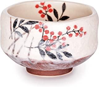正宗日本传统茶具仪式一普库 直径 9.5 厘米迷你抹茶碗 Chawan 美浓茶杯 纹理釉料花卉设计 日本手工制作(Nanten Heavenly Bamboo)
