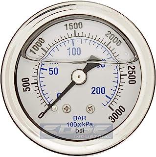 GAUGE 不锈钢液体填充压力,背架 1/8 英寸(约 0.3 厘米)NPT,1.5 英寸(约 3.8 厘米)表面表盘,WOG 额定值(0-3000 PSI)