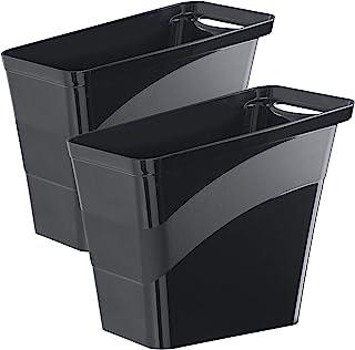 Amazing Abby - 便利的花公子 - 2 件装小型垃圾桶,厨房和浴室塑料垃圾篮,时尚家庭和办公室垃圾桶,2 加仑(8 升)容量,黑色