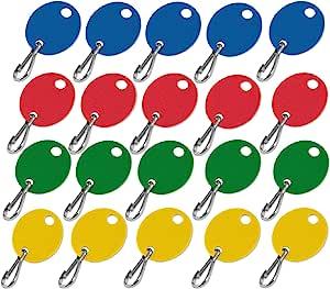 Lucky Line 椭圆形橱柜钥匙牌带挂钩和印花编号序列 Blank Tags Blank Oval Assorted Colors