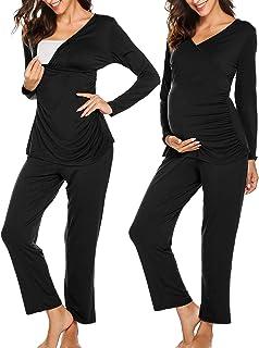 Ekouaer 女式孕妇哺乳睡衣套装柔软孕妇哺乳睡衣套装(S-XXL)