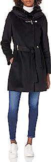 Calvin Klein 女士人造皮草肩领大衣