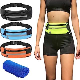 跑步腰带 + 运动冰巾 男女防水腰包 可调节腰包 适用于旅行运动 跑步臀部包